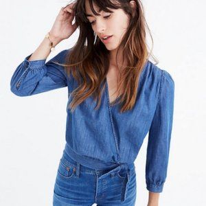 Madewell Denim Wrap Top Size Large